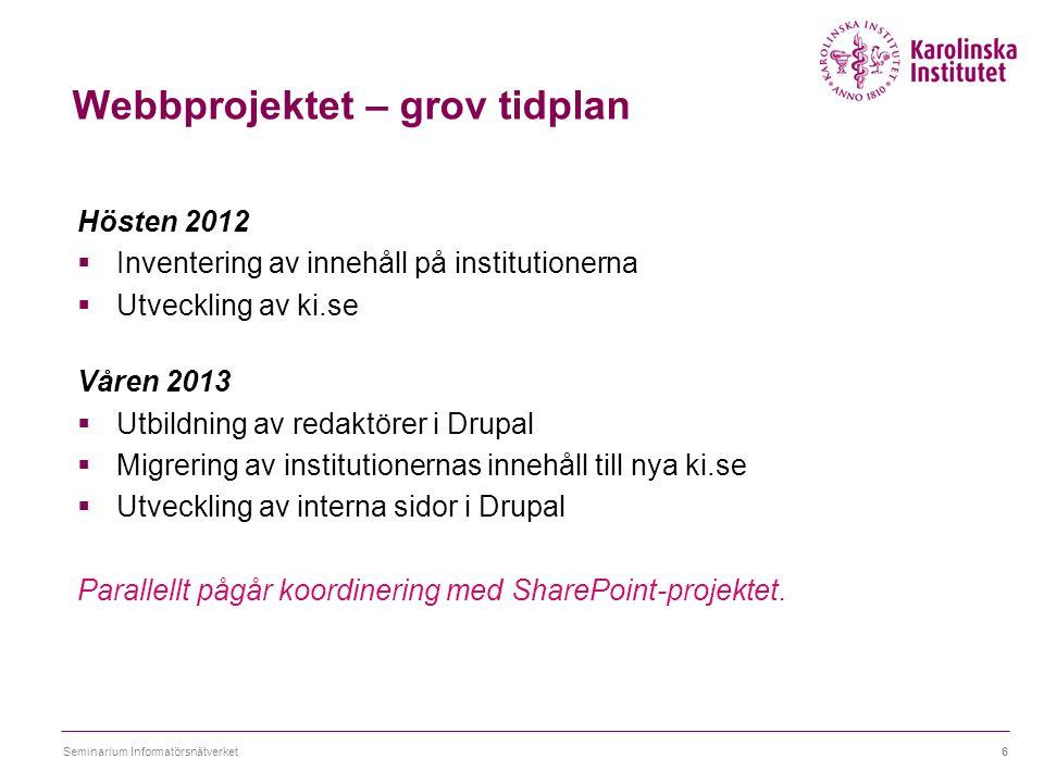Webbprojektet – grov tidplan Hösten 2012  Inventering av innehåll på institutionerna  Utveckling av ki.se Våren 2013  Utbildning av redaktörer i Dr