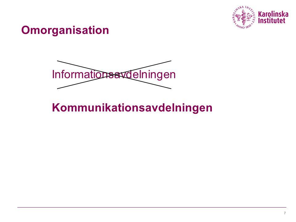 Omorganisation Informationsavdelningen Kommunikationsavdelningen 12 juni 2012 7 Seminarium Informatörsnätverket