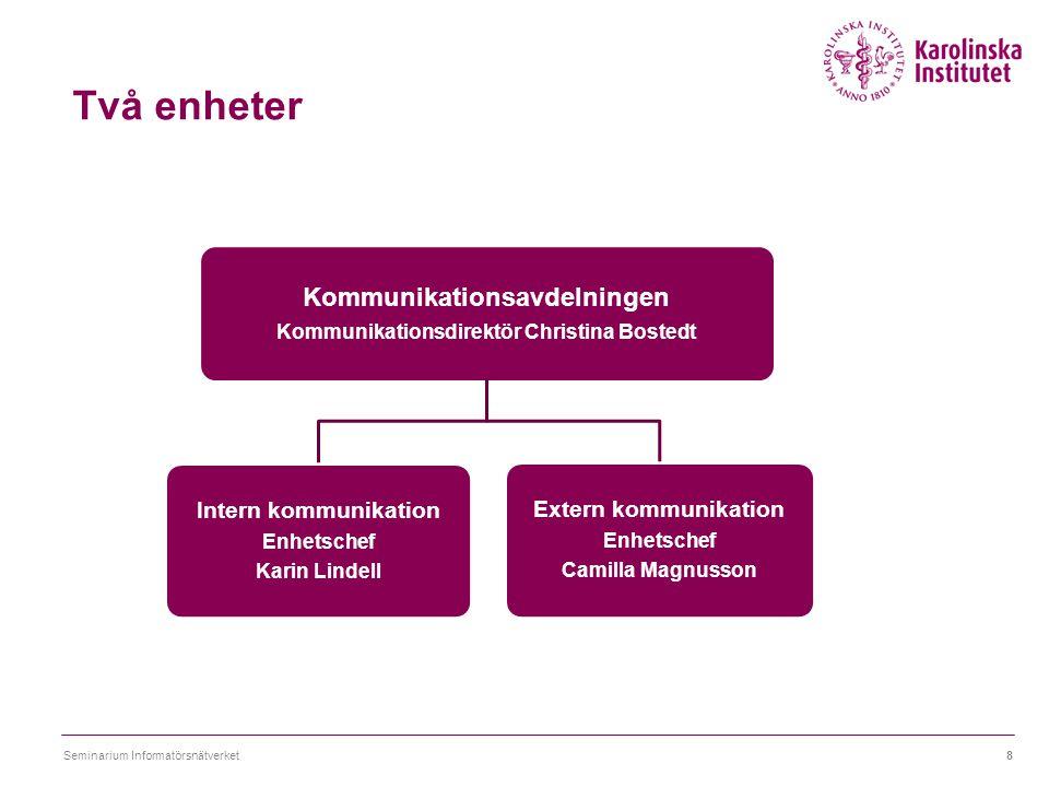 Två enheter Seminarium Informatörsnätverket8 Kommunikationsavdelningen Kommunikationsdirektör Christina Bostedt Intern kommunikation Enhetschef Karin