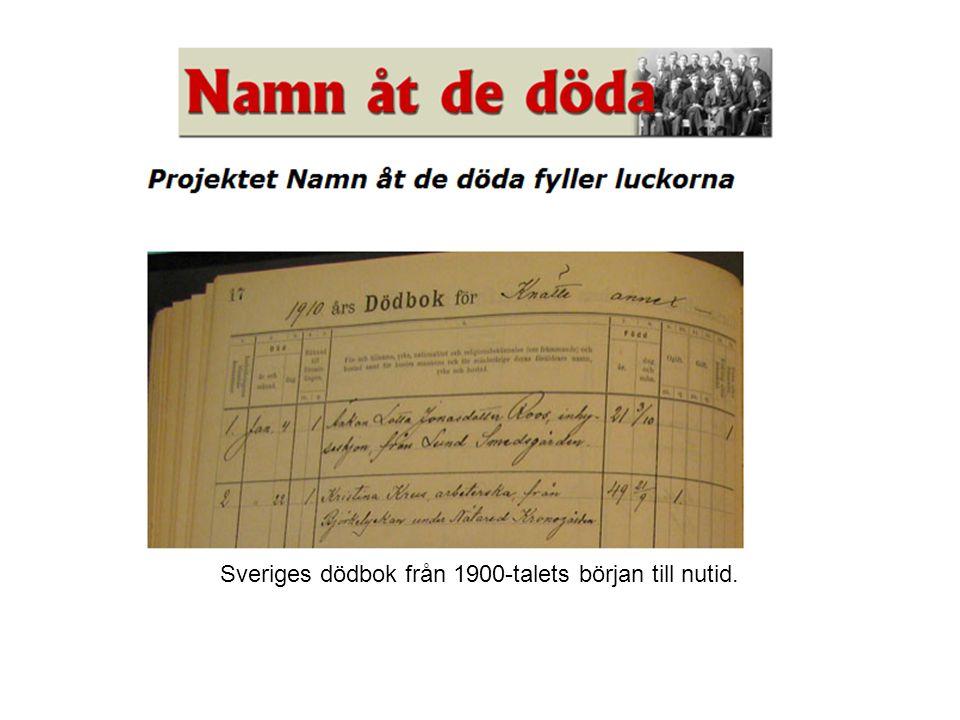 Genom projektet Namn åt de döda dokumenteras Sveriges dödbok från 1900-talets början till nutid.