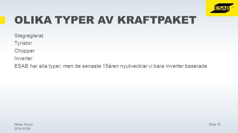 Slide 10Niklas Norén 2014-05-04 OLIKA TYPER AV KRAFTPAKET Stegreglerat Tyristor Chopper Inverter ESAB har alla typer, men de senaste 15åren nyutvecklar vi bara inverter baserade