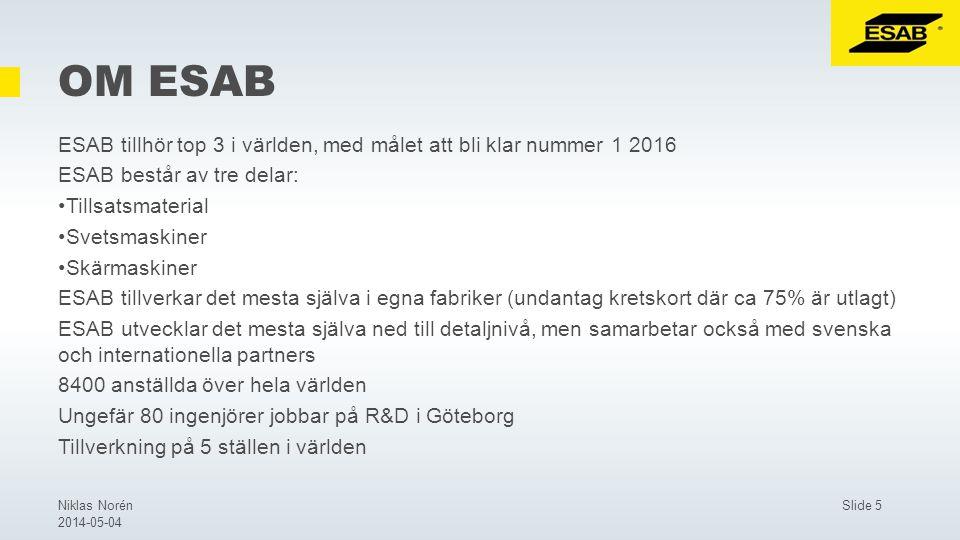 Slide 5Niklas Norén 2014-05-04 OM ESAB ESAB tillhör top 3 i världen, med målet att bli klar nummer 1 2016 ESAB består av tre delar: Tillsatsmaterial Svetsmaskiner Skärmaskiner ESAB tillverkar det mesta själva i egna fabriker (undantag kretskort där ca 75% är utlagt) ESAB utvecklar det mesta själva ned till detaljnivå, men samarbetar också med svenska och internationella partners 8400 anställda över hela världen Ungefär 80 ingenjörer jobbar på R&D i Göteborg Tillverkning på 5 ställen i världen
