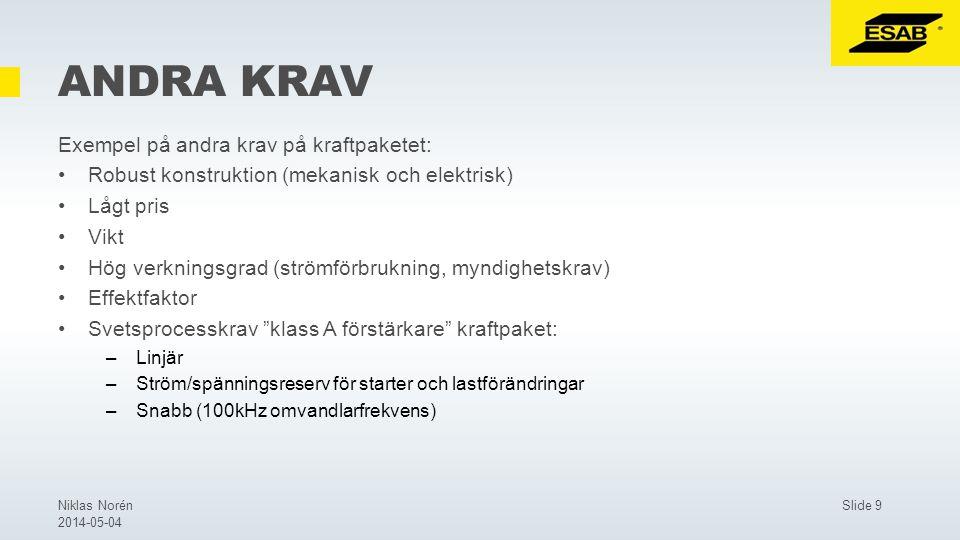Slide 9Niklas Norén 2014-05-04 ANDRA KRAV Exempel på andra krav på kraftpaketet: Robust konstruktion (mekanisk och elektrisk) Lågt pris Vikt Hög verkningsgrad (strömförbrukning, myndighetskrav) Effektfaktor Svetsprocesskrav klass A förstärkare kraftpaket: –Linjär –Ström/spänningsreserv för starter och lastförändringar –Snabb (100kHz omvandlarfrekvens)