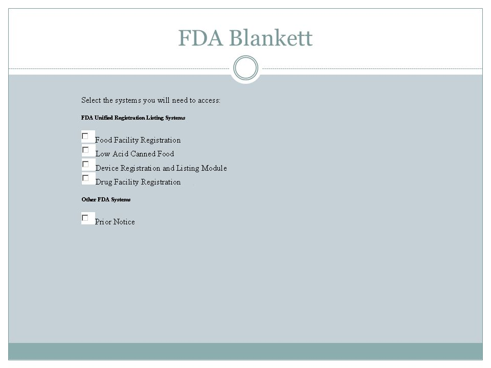 FDA Blankett