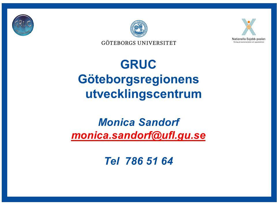 GRUC Göteborgsregionens utvecklingscentrum Monica Sandorf monica.sandorf@ufl.gu.se Tel 786 51 64
