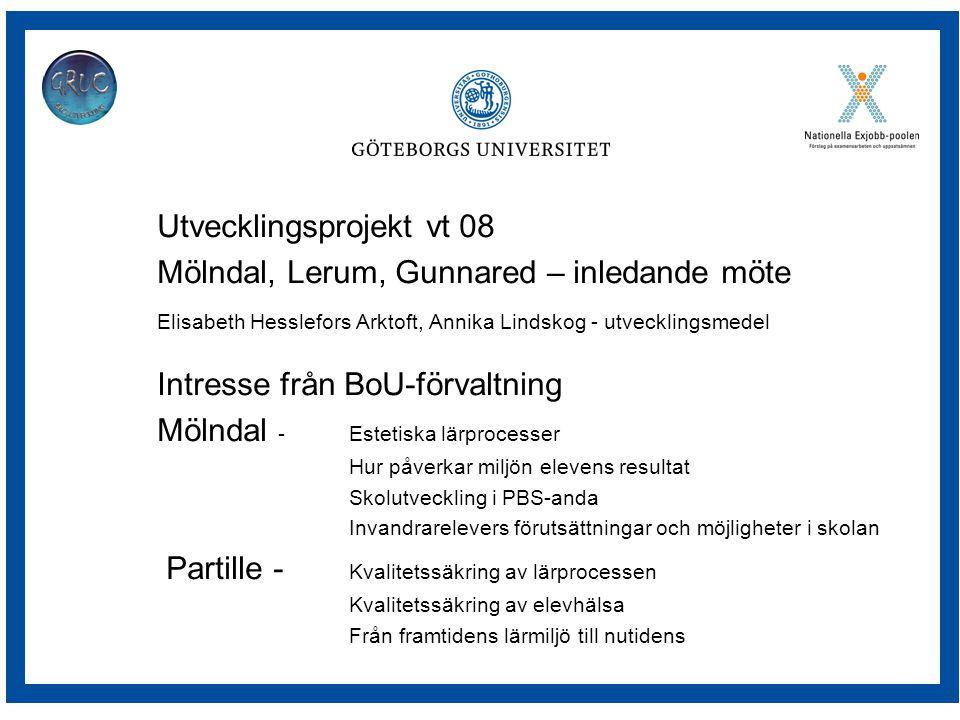 Utvecklingsprojekt vt 08 Mölndal, Lerum, Gunnared – inledande möte Elisabeth Hesslefors Arktoft, Annika Lindskog - utvecklingsmedel Intresse från BoU-förvaltning Mölndal - Estetiska lärprocesser Hur påverkar miljön elevens resultat Skolutveckling i PBS-anda Invandrarelevers förutsättningar och möjligheter i skolan Partille - Kvalitetssäkring av lärprocessen Kvalitetssäkring av elevhälsa Från framtidens lärmiljö till nutidens