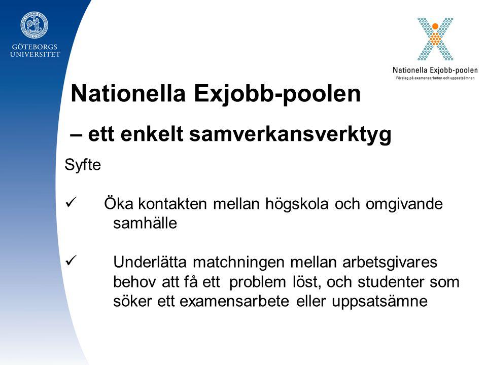 Nationella Exjobb-poolen – ett enkelt samverkansverktyg Syfte Öka kontakten mellan högskola och omgivande samhälle Underlätta matchningen mellan arbetsgivares behov att få ett problem löst, och studenter som söker ett examensarbete eller uppsatsämne