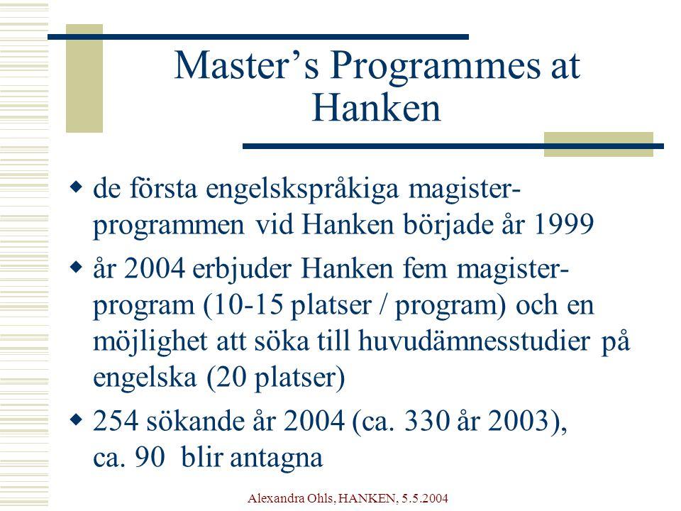Alexandra Ohls, HANKEN, 5.5.2004 Master's Programmes at Hanken  de första engelskspråkiga magister- programmen vid Hanken började år 1999  år 2004 erbjuder Hanken fem magister- program (10-15 platser / program) och en möjlighet att söka till huvudämnesstudier på engelska (20 platser)  254 sökande år 2004 (ca.