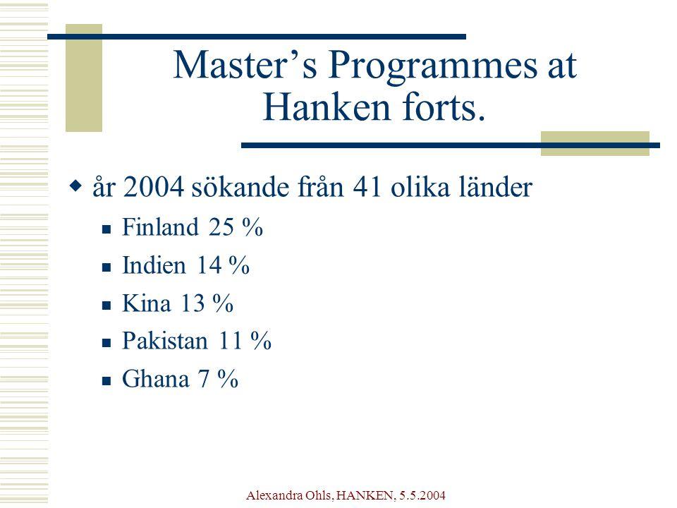 Alexandra Ohls, HANKEN, 5.5.2004 Master's Programmes at Hanken forts.