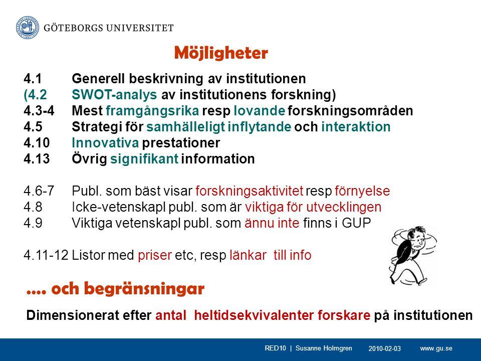 www.gu.seRED10 | Susanne Holmgren Möjligheter 4.1 Generell beskrivning av institutionen (4.2 SWOT-analys av institutionens forskning) 4.3-4Mest framgångsrika resp lovande forskningsområden 4.5Strategi för samhälleligt inflytande och interaktion 4.10Innovativa prestationer 4.13Övrig signifikant information 4.6-7 Publ.