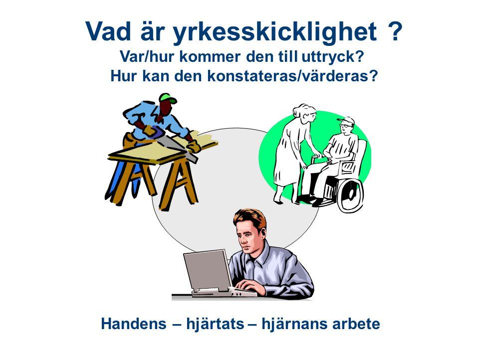 Vad är yrkesskicklighet ? Var/hur kommer den till uttryck? Hur kan den konstateras/värderas? Handens – hjärtats – hjärnans arbete