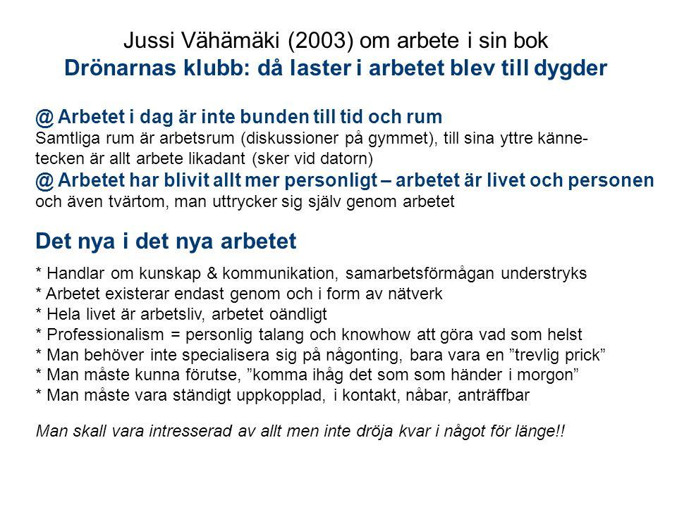 Jussi Vähämäki (2003) om arbete i sin bok Drönarnas klubb: då laster i arbetet blev till dygder @ Arbetet i dag är inte bunden till tid och rum Samtli