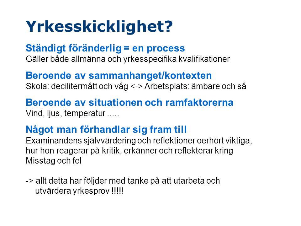 Yrkesskicklighet? Ständigt föränderlig = en process Gäller både allmänna och yrkesspecifika kvalifikationer Beroende av sammanhanget/kontexten Skola: