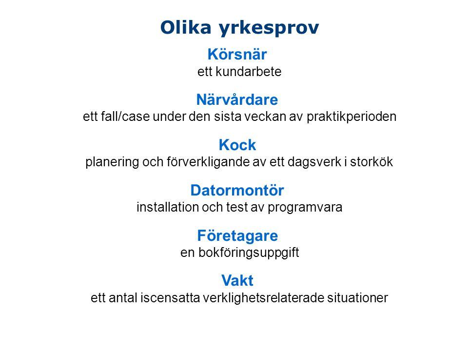 Olika yrkesprov Körsnär ett kundarbete Närvårdare ett fall/case under den sista veckan av praktikperioden Kock planering och förverkligande av ett dag