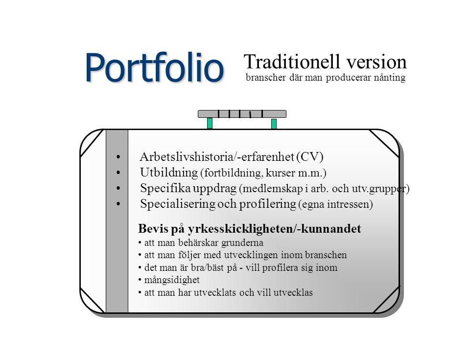 Portfolio Traditionell version branscher där man producerar nånting Arbetslivshistoria/-erfarenhet (CV) Utbildning (fortbildning, kurser m.m.) Specifi