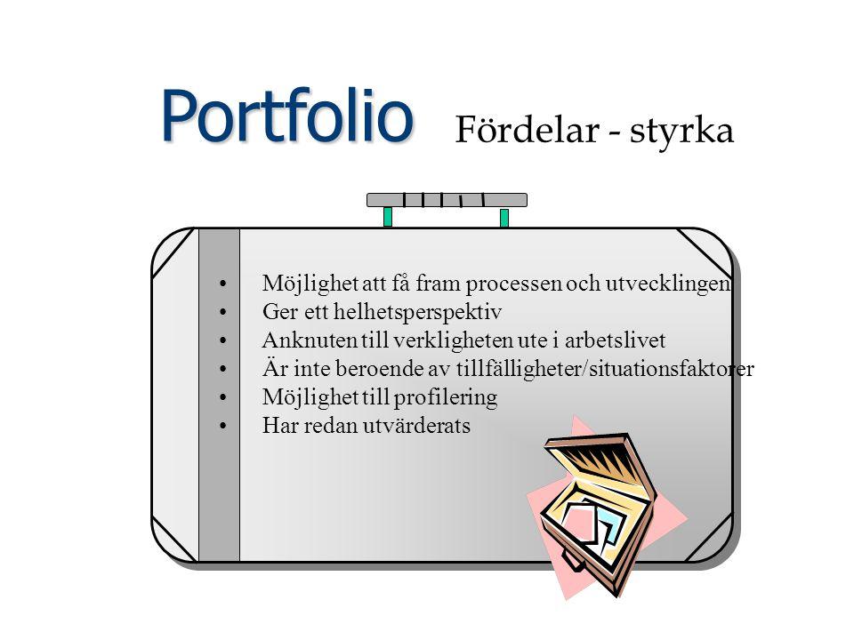 Portfolio Fördelar - styrka Möjlighet att få fram processen och utvecklingen Ger ett helhetsperspektiv Anknuten till verkligheten ute i arbetslivet Är