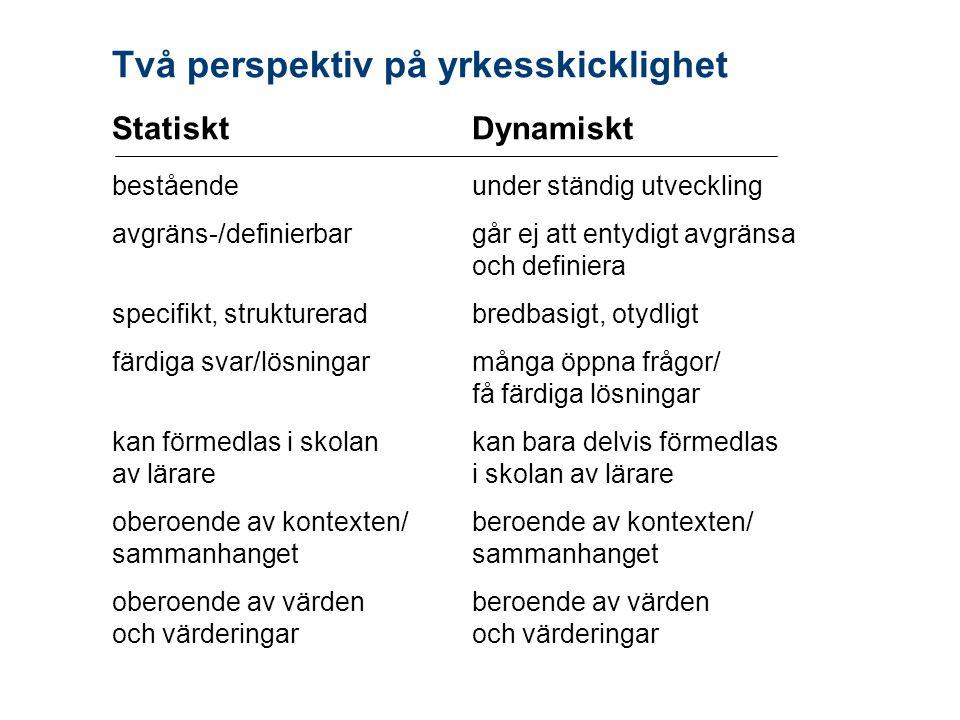 Två perspektiv på yrkesskicklighet StatisktDynamiskt beståendeunder ständig utveckling avgräns-/definierbargår ej att entydigt avgränsa och definiera