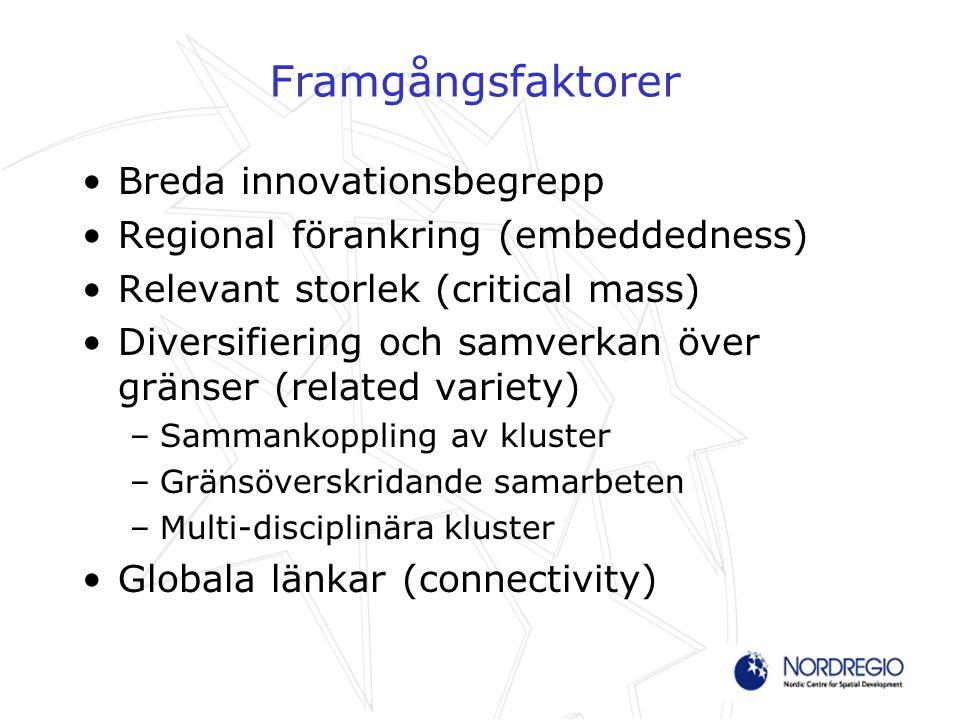 Framgångsfaktorer Breda innovationsbegrepp Regional förankring (embeddedness) Relevant storlek (critical mass) Diversifiering och samverkan över gräns
