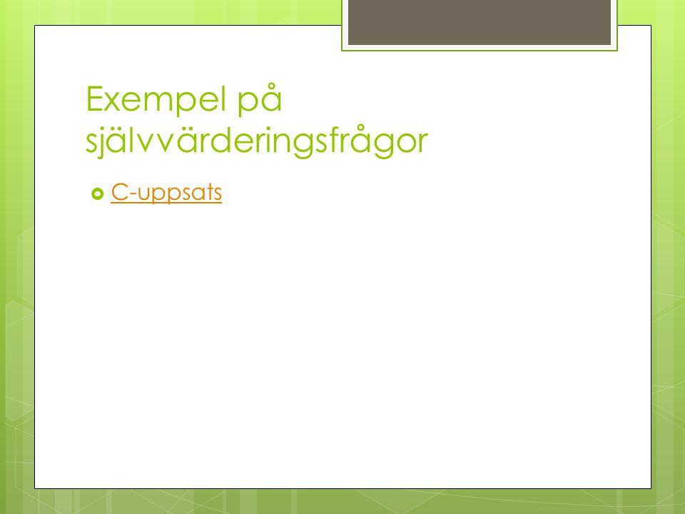 Exempel på självvärderingsfrågor  C-uppsats C-uppsats