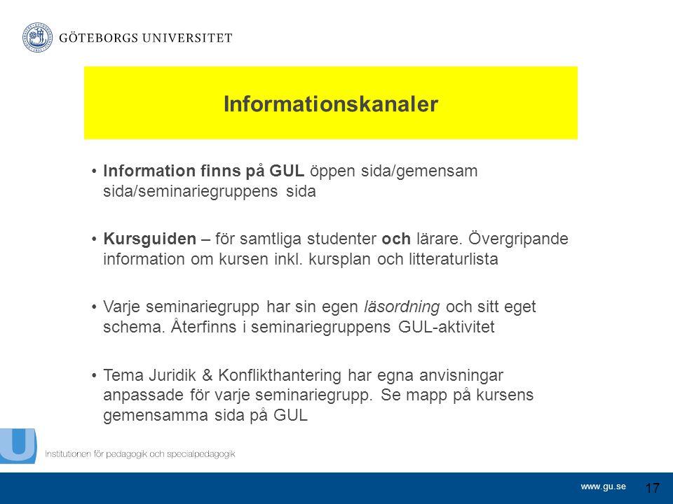 www.gu.se Informationskanaler Information finns på GUL öppen sida/gemensam sida/seminariegruppens sida Kursguiden – för samtliga studenter och lärare.