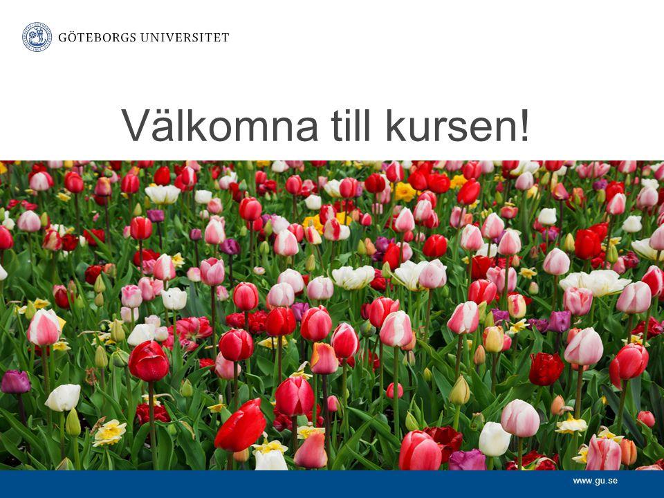 www.gu.se Välkomna till kursen!
