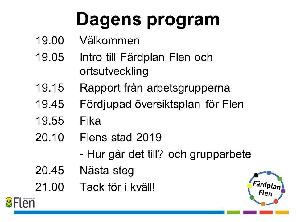 Dagens program 19.00 Välkommen 19.05 Intro till Färdplan Flen och ortsutveckling 19.15Rapport från arbetsgrupperna 19.45Fördjupad översiktsplan för Flen 19.55Fika 20.10Flens stad 2019 - Hur går det till.