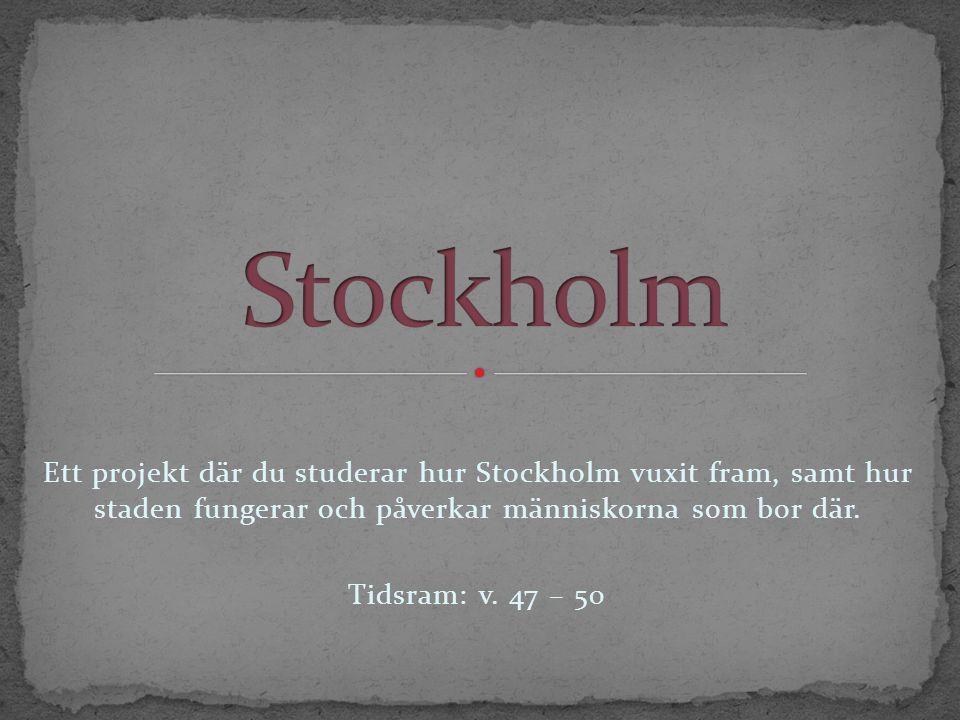 Ett projekt där du studerar hur Stockholm vuxit fram, samt hur staden fungerar och påverkar människorna som bor där.