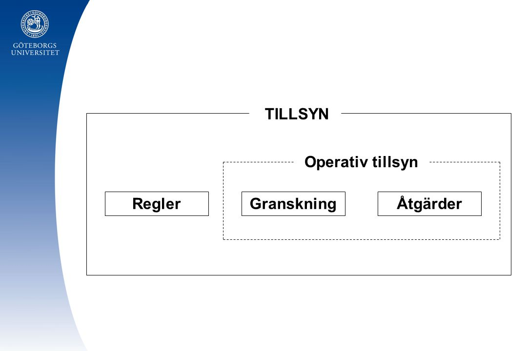 GranskningÅtgärderRegler Operativ tillsyn TILLSYN