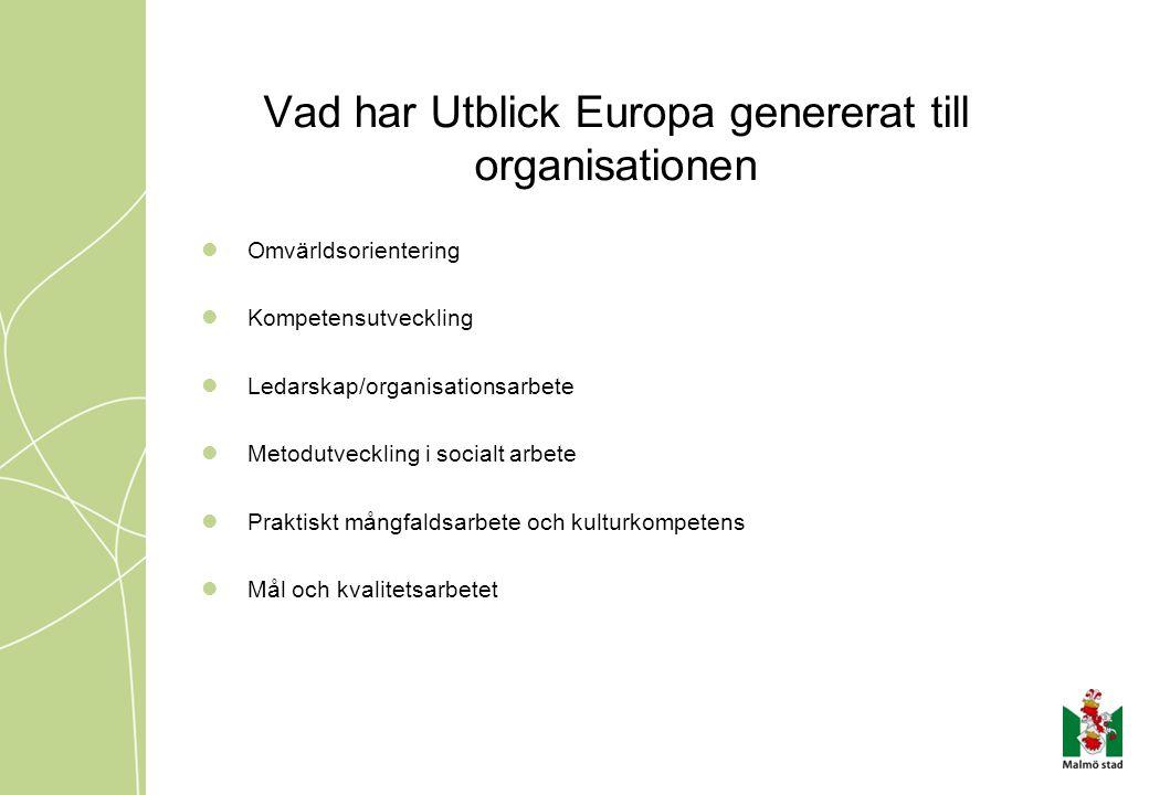 Vad har Utblick Europa genererat till organisationen Omvärldsorientering Kompetensutveckling Ledarskap/organisationsarbete Metodutveckling i socialt a