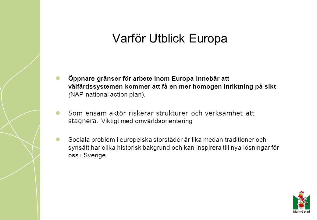Stadsdelen SI sociala förutsättningar Södra Innerstadens stadsdel i Malmö har: bland de lägsta siffror i polisens trygghetsmätning ett av Sveriges lägsta välfärdsindex högst andel missbrukare i Malmö hög andel medborgare med psykisk problematik högst andel hemlösa i Malmö medborgare representerade ifrån 122 länder stor andel nyanlända flyktingar 36% av försörjningsstödstagarna är barnfamiljer d.v.s 50% av alla barn i stadsdelen vart 8:e barn utreds av socialtjänsten 23 LVU (2007)