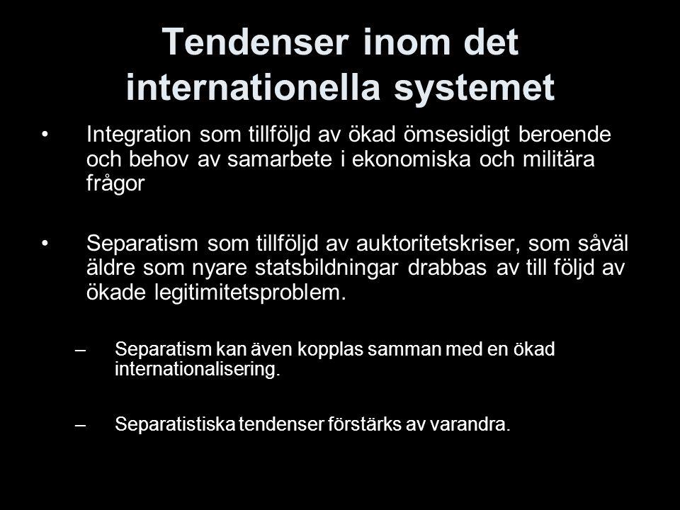 Tendenser inom det internationella systemet Integration som tillföljd av ökad ömsesidigt beroende och behov av samarbete i ekonomiska och militära frå