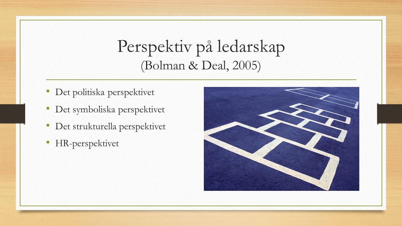 Perspektiv på ledarskap (Bolman & Deal, 2005) Det politiska perspektivet Det symboliska perspektivet Det strukturella perspektivet HR-perspektivet