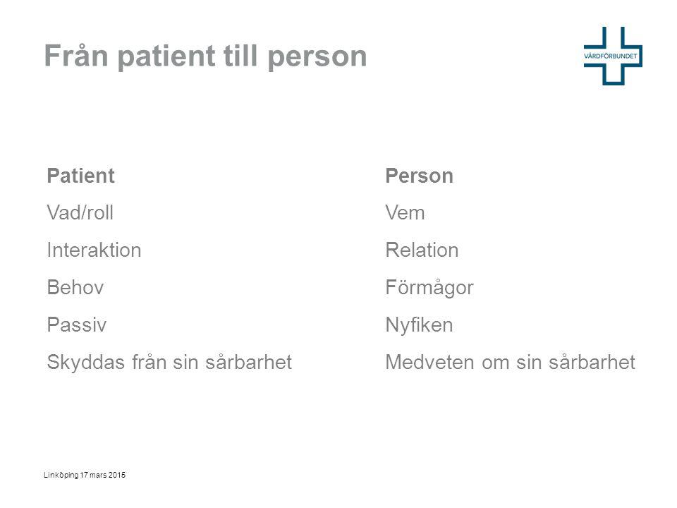 Från patient till person Linköping 17 mars 2015 PatientPerson Vad/rollVem InteraktionRelation BehovFörmågor PassivNyfiken Skyddas från sin sårbarhetMe