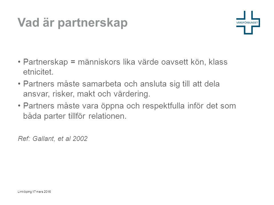Vad är partnerskap Partnerskap = människors lika värde oavsett kön, klass etnicitet. Partners måste samarbeta och ansluta sig till att dela ansvar, ri