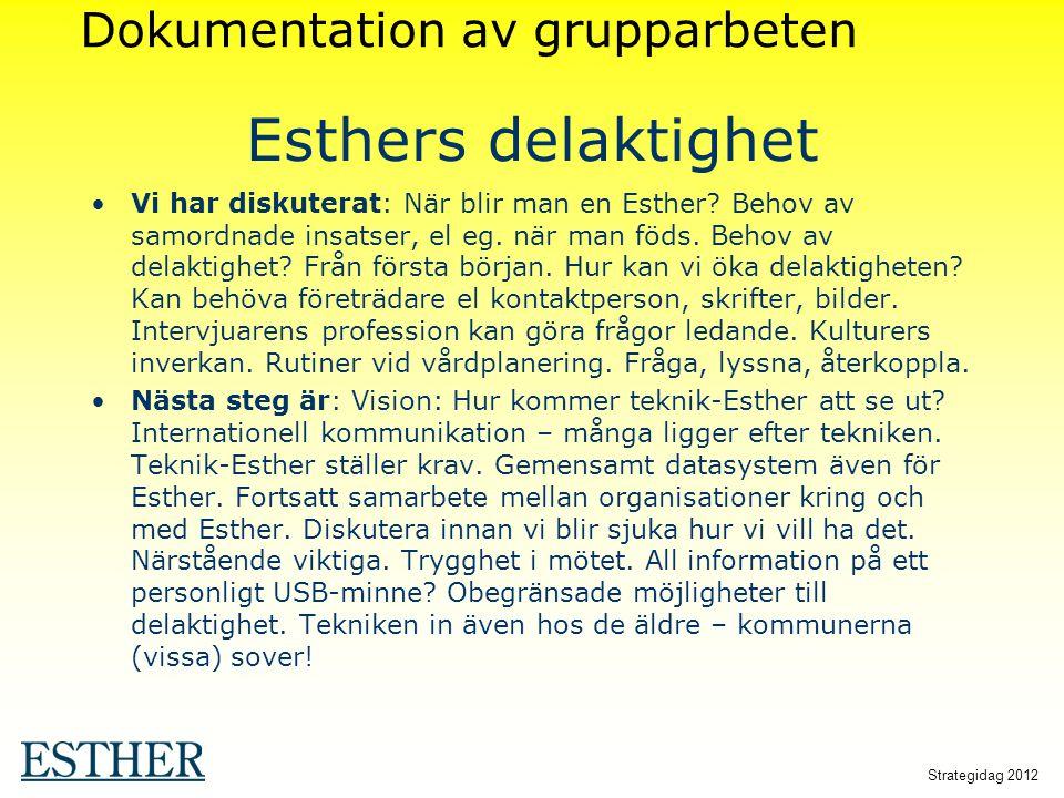 Strategidag 2012 Esthers delaktighet Vi har diskuterat: När blir man en Esther? Behov av samordnade insatser, el eg. när man föds. Behov av delaktighe