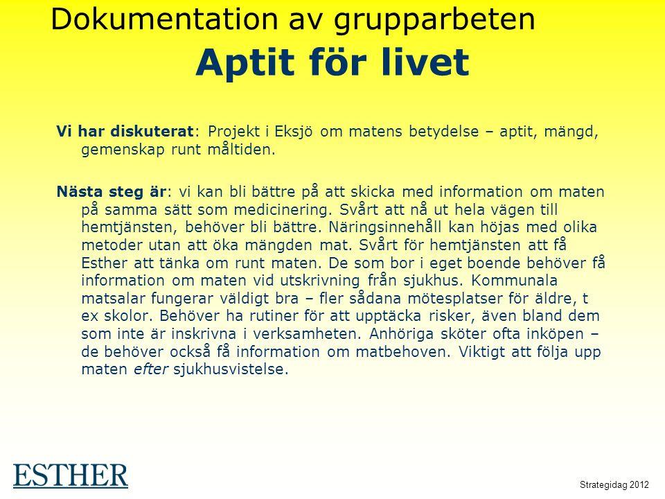 Strategidag 2012 Aptit för livet Vi har diskuterat: Projekt i Eksjö om matens betydelse – aptit, mängd, gemenskap runt måltiden. Nästa steg är: vi kan