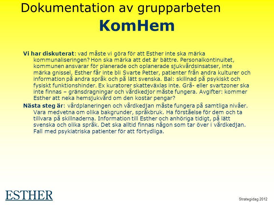Strategidag 2012 KomHem Vi har diskuterat: vad måste vi göra för att Esther inte ska märka kommunaliseringen? Hon ska märka att det är bättre. Persona