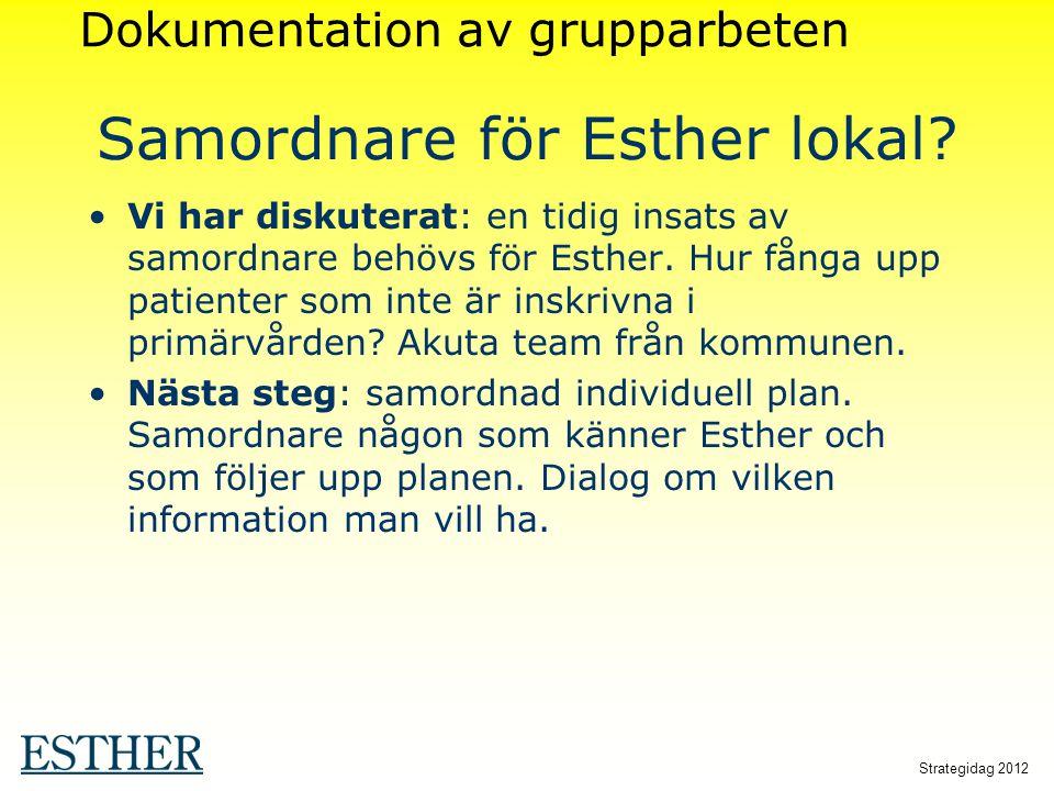 Strategidag 2012 Samordnare för Esther lokal? Vi har diskuterat: en tidig insats av samordnare behövs för Esther. Hur fånga upp patienter som inte är