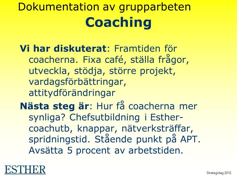 Strategidag 2012 Coaching Vi har diskuterat: Framtiden för coacherna. Fixa café, ställa frågor, utveckla, stödja, större projekt, vardagsförbättringar