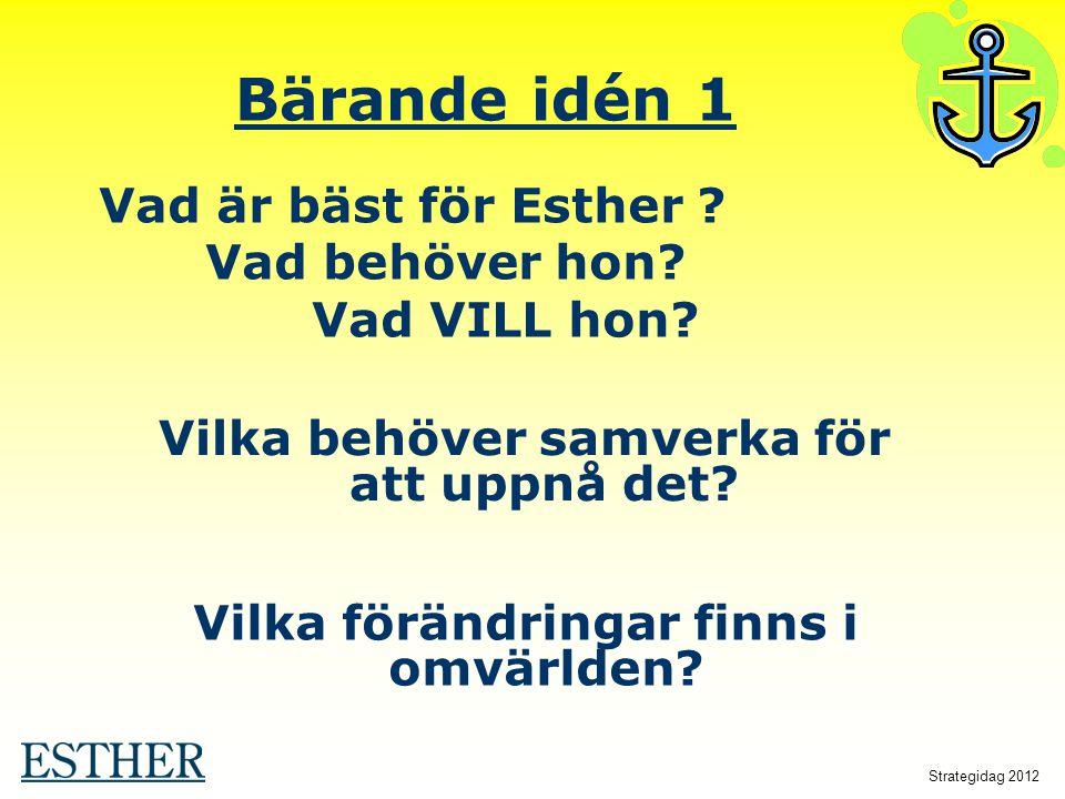 Vilka förändringar finns i omvärlden? Bärande idén 1 Vilka behöver samverka för att uppnå det? Vad är bäst för Esther ? Vad behöver hon? Vad VILL hon?