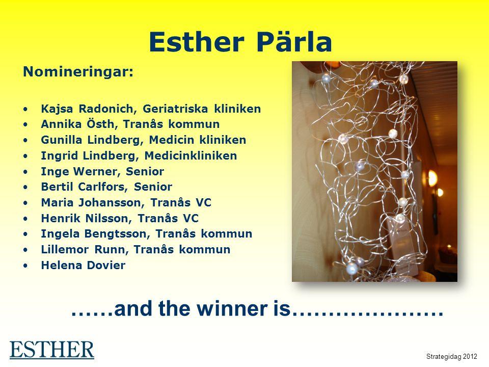 Strategidag 2012 Esther Pärla Nomineringar: Kajsa Radonich, Geriatriska kliniken Annika Östh, Tranås kommun Gunilla Lindberg, Medicin kliniken Ingrid