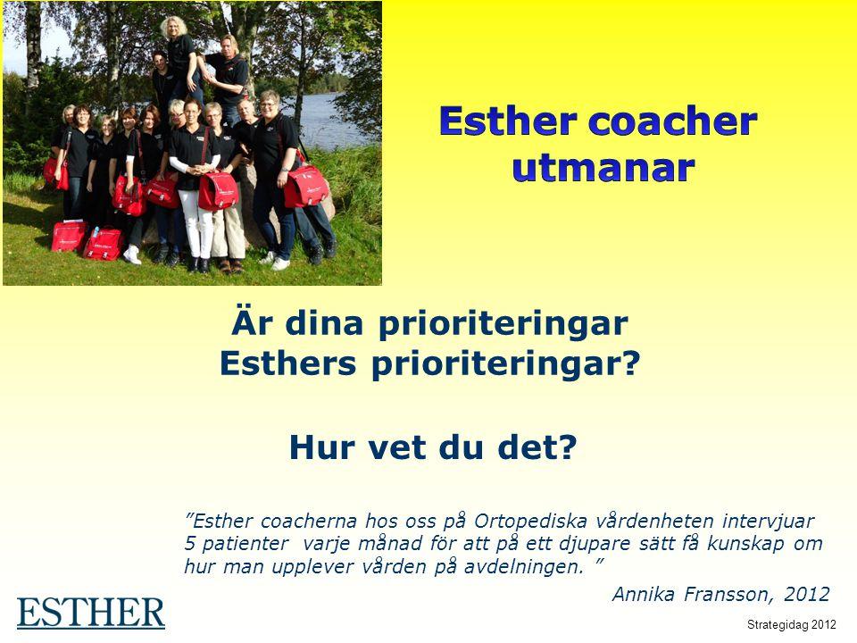 """Är dina prioriteringar Esthers prioriteringar? Hur vet du det? """"Esther coacherna hos oss på Ortopediska vårdenheten intervjuar 5 patienter varje månad"""