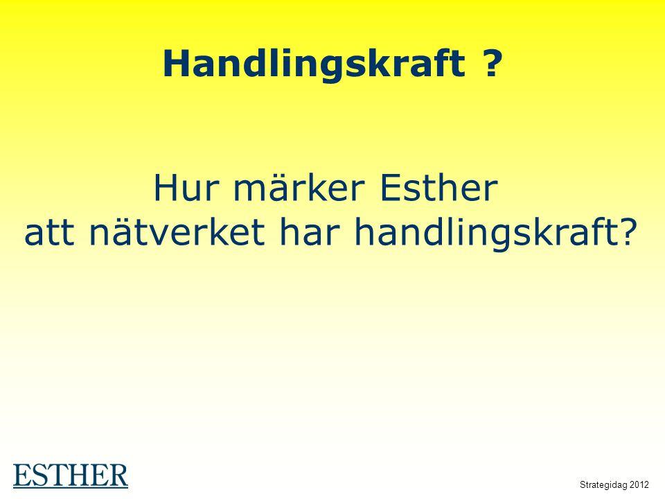 Strategidag 2012 Handlingskraft ? Hur märker Esther att nätverket har handlingskraft?