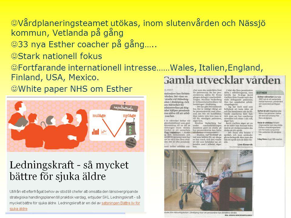Strategidag 2012 Vårdplaneringsteamet utökas, inom slutenvården och Nässjö kommun, Vetlanda på gång 33 nya Esther coacher på gång….. Stark nationell f