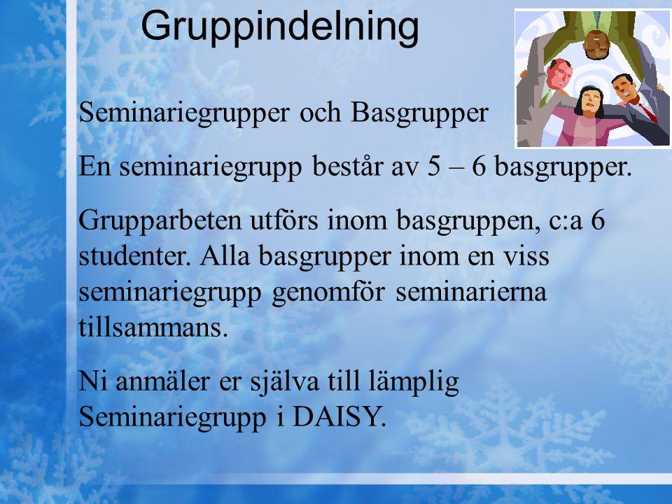 Gruppindelning Seminariegrupper och Basgrupper En seminariegrupp består av 5 – 6 basgrupper.