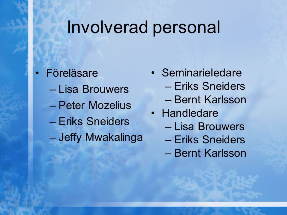 Involverad personal Föreläsare –Lisa Brouwers –Peter Mozelius –Eriks Sneiders –Jeffy Mwakalinga Seminarieledare –Eriks Sneiders –Bernt Karlsson Handle