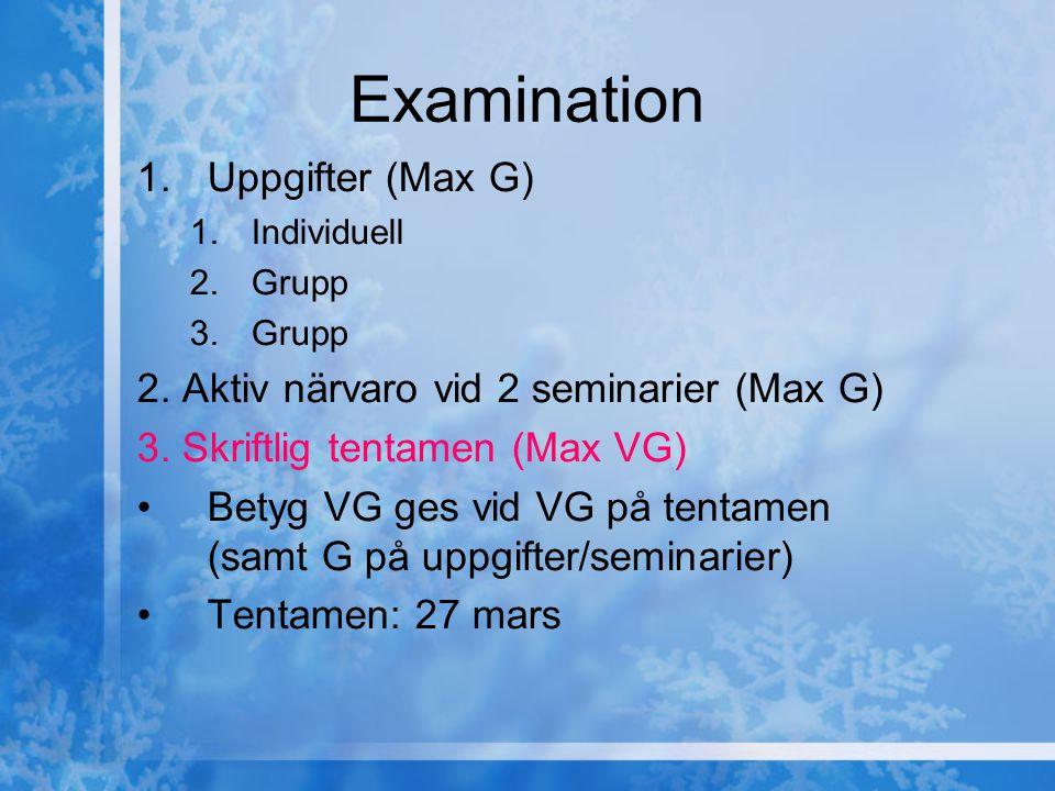 Examination 1.Uppgifter (Max G) 1.Individuell 2.Grupp 3.Grupp 2. Aktiv närvaro vid 2 seminarier (Max G) 3. Skriftlig tentamen (Max VG) Betyg VG ges vi