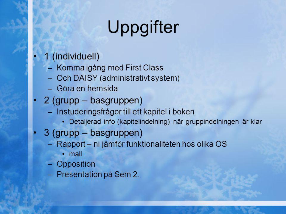 Uppgifter 1 (individuell) –Komma igång med First Class –Och DAISY (administrativt system) –Göra en hemsida 2 (grupp – basgruppen) –Instuderingsfrågor till ett kapitel i boken Detaljerad info (kapitelindelning) när gruppindelningen är klar 3 (grupp – basgruppen) –Rapport – ni jämför funktionaliteten hos olika OS mall –Opposition –Presentation på Sem 2.
