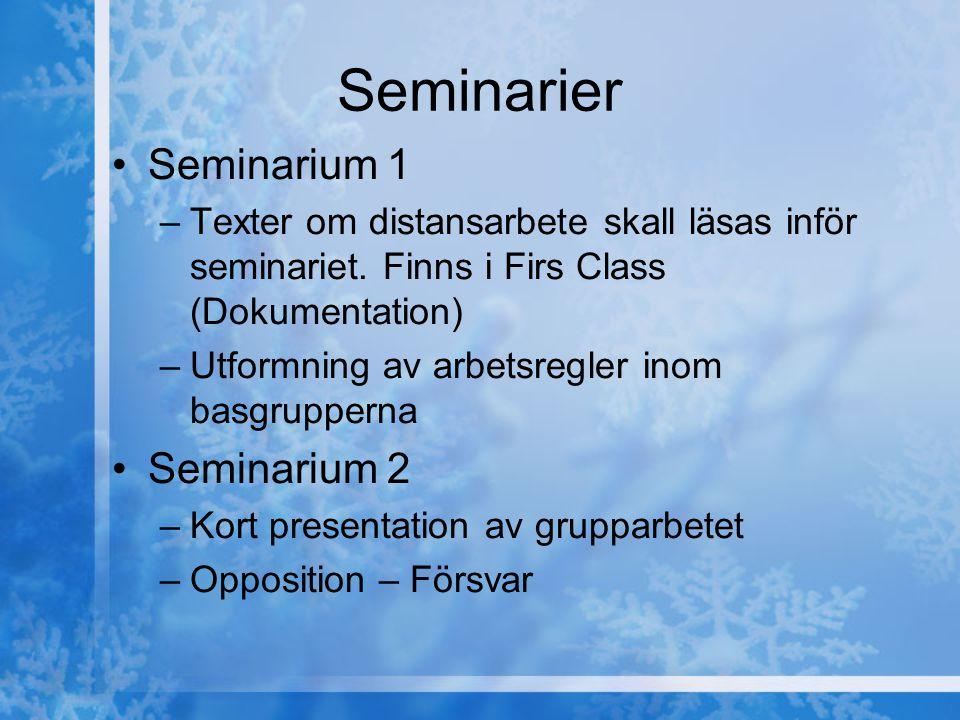 Seminarier Seminarium 1 –Texter om distansarbete skall läsas inför seminariet. Finns i Firs Class (Dokumentation) –Utformning av arbetsregler inom bas