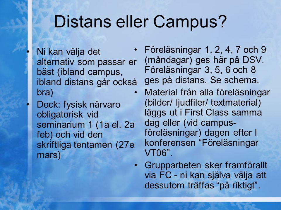 Distans eller Campus? Ni kan välja det alternativ som passar er bäst (ibland campus, ibland distans går också bra) Dock: fysisk närvaro obligatorisk v